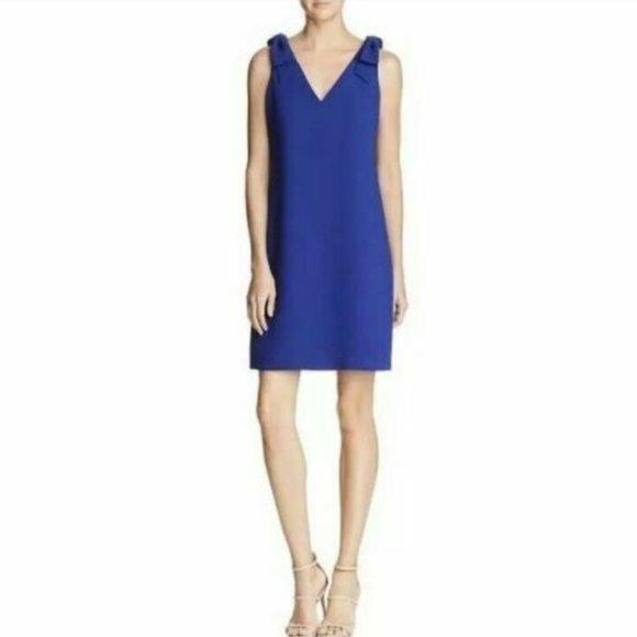 Eliza J Royal Blue V-Neck Sleeveless Bow Dress